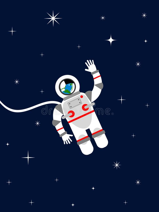 Astronaut in outer space royalty free illustration