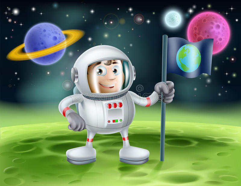 Astronaut Outer Space Cartoon Royalty-vrije Stock Foto's