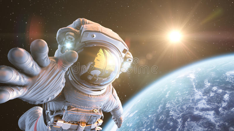 Astronaut in outer space. 3d render royalty free stock photo