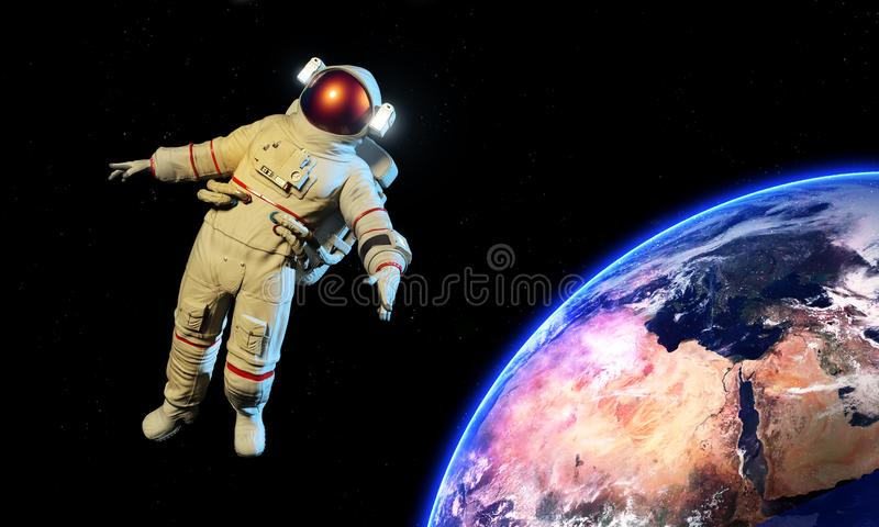 Astronaut in an Outer Space royalty free illustration