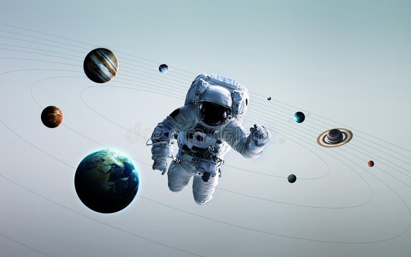 Astronaut in outer space modern art. Elements of this image furnished by NASA royalty free stock photo