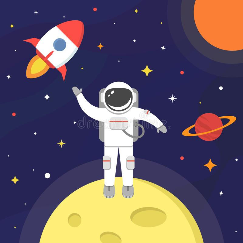Astronaut in outer space. Spaceman on black background. Space suit, moon, spaceship, sun, planet, stars concept stock illustration