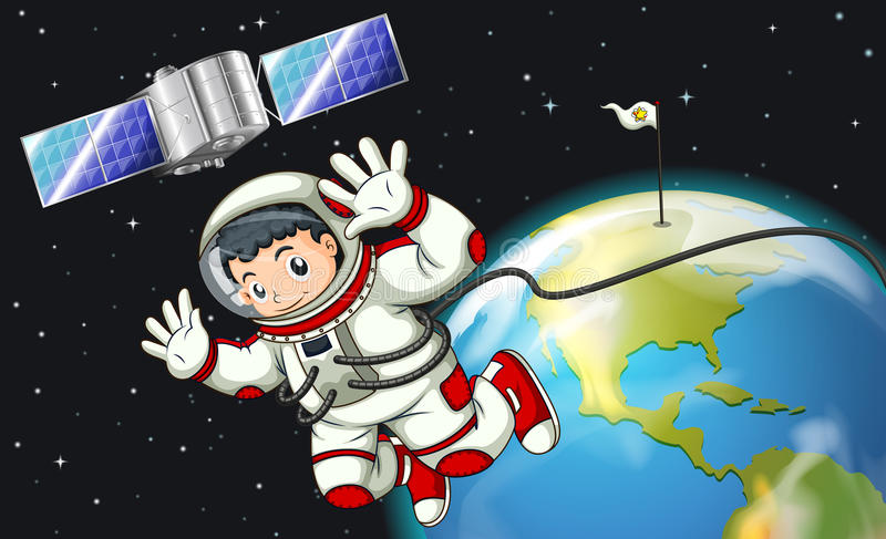 An astronaut in the outerspace near the satellite stock illustration