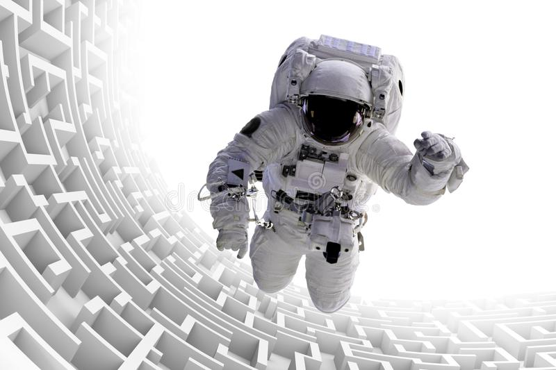 Astronaut over huge endless maze structure 3d illustration, elements of this image are furnished by NASA. Surreal scene with spaceman flying over endless 3d stock illustration