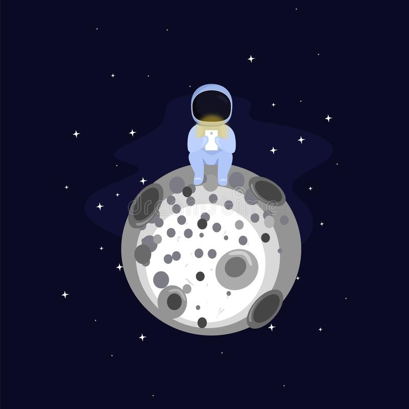 Astronaut p? m?nen stock illustrationer