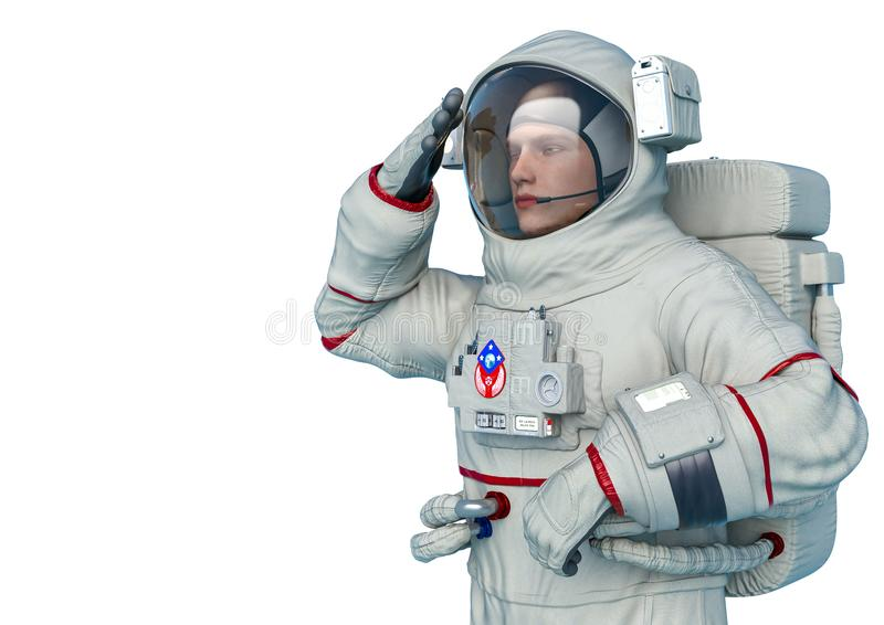 Astronaut patriot pose in a white background vector illustration