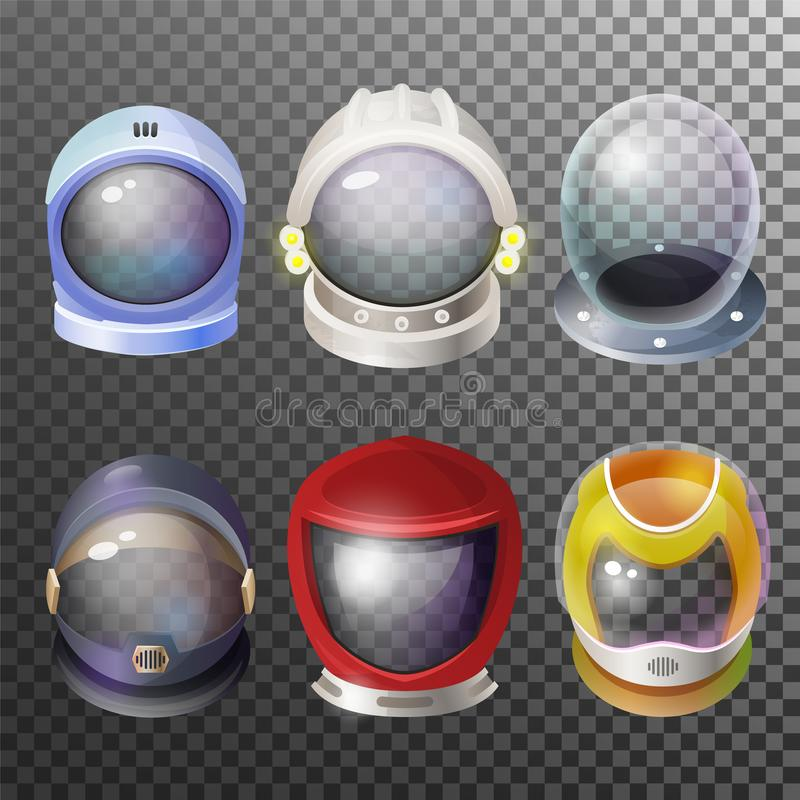 Astronaut and pilot helmet space discovery set. Astronaut mask and pilot helmet space discovery set. Protective headgear for outer space, suit garment. Vector royalty free illustration