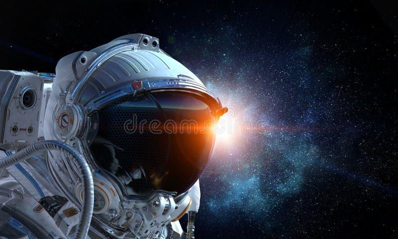 Astronaut pioneer doing research Gemengde media royalty-vrije stock foto