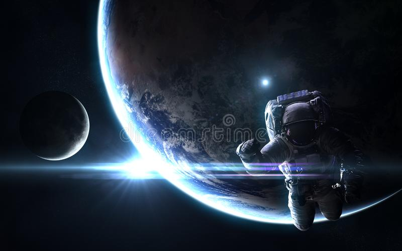 Astronaut, planet Earth and moon in bright blue rays of Sun. Abstract science fiction. Elements of the image are furnished by NASA stock images