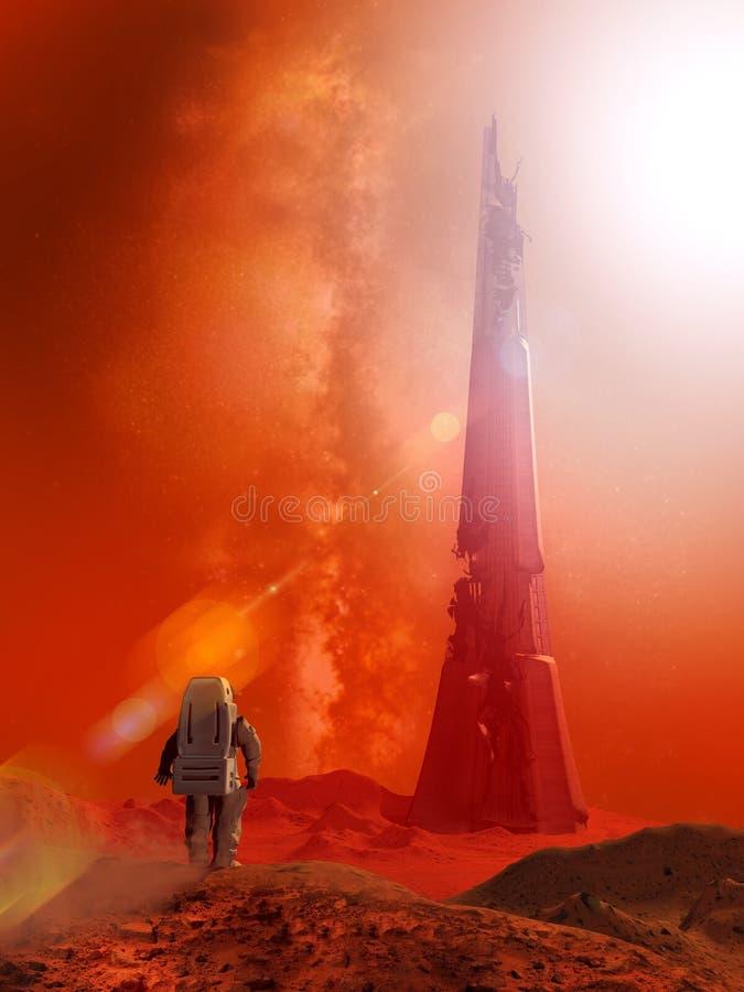 Alien construction on planet Mars vector illustration