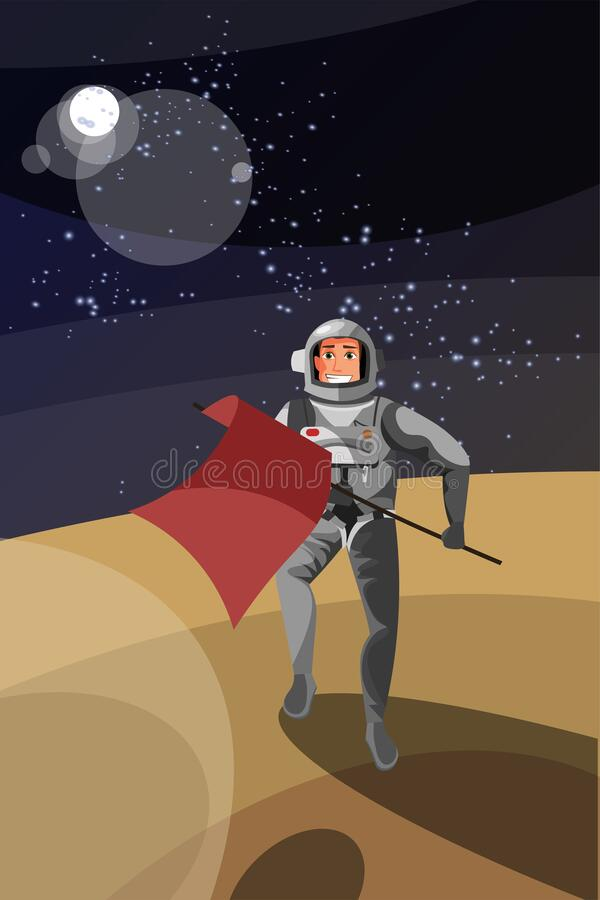 Astronaut on planet surface vector illustration. Cheerful cosmonaut in space suit holding flag cartoon character. Brave pioneer, galaxy expedition, landing stock illustration