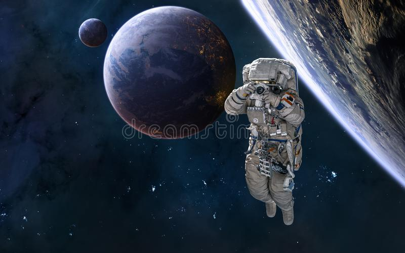 Astronaut, planets in deep space, beautiful space landscape. Science fiction stock image