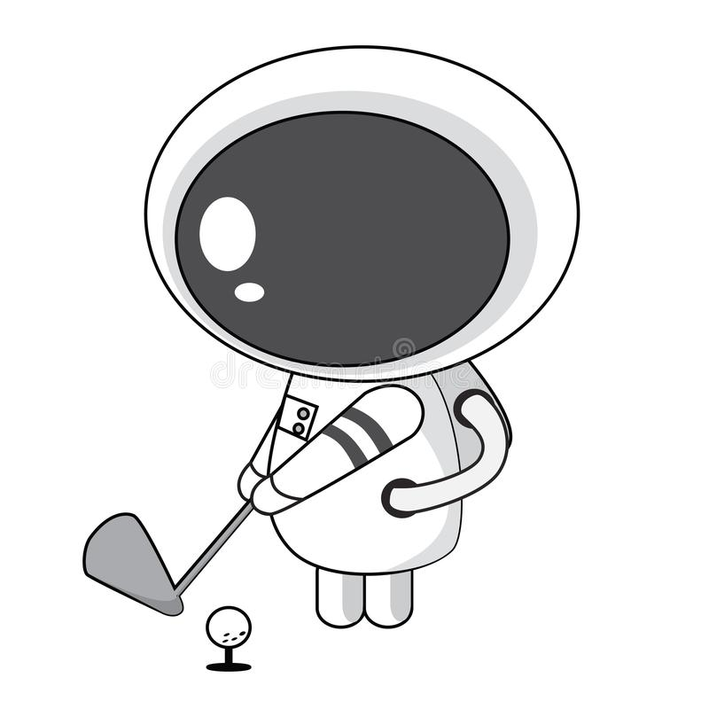 Astronaut Playing Golf vektor abbildung
