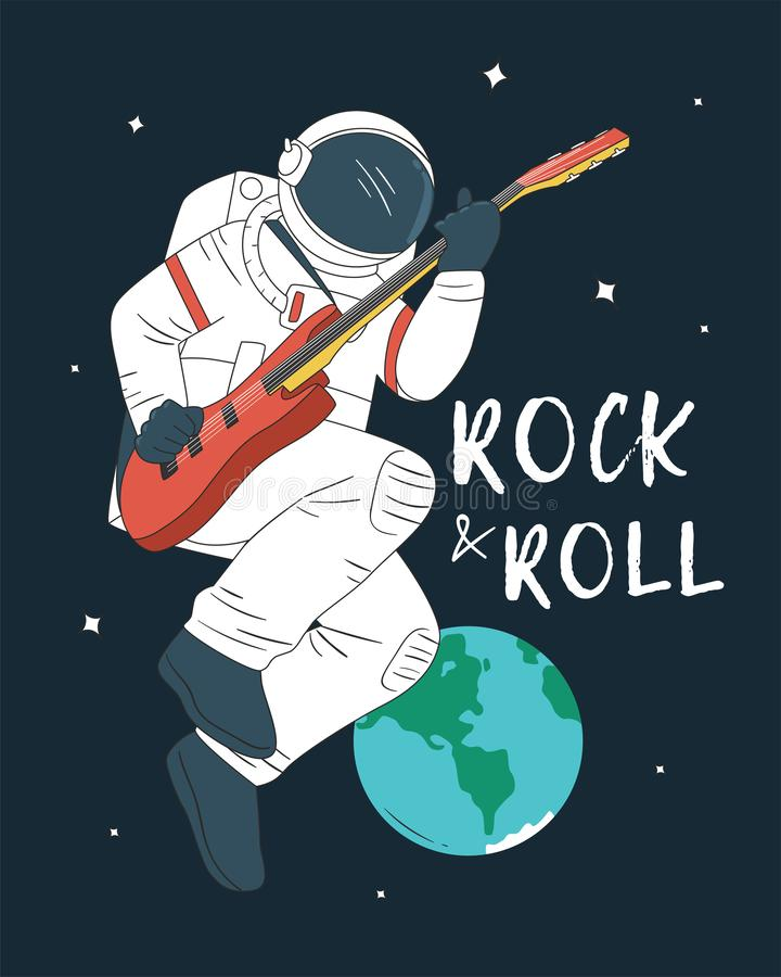 Astronaut Playing Guitar royalty-vrije illustratie