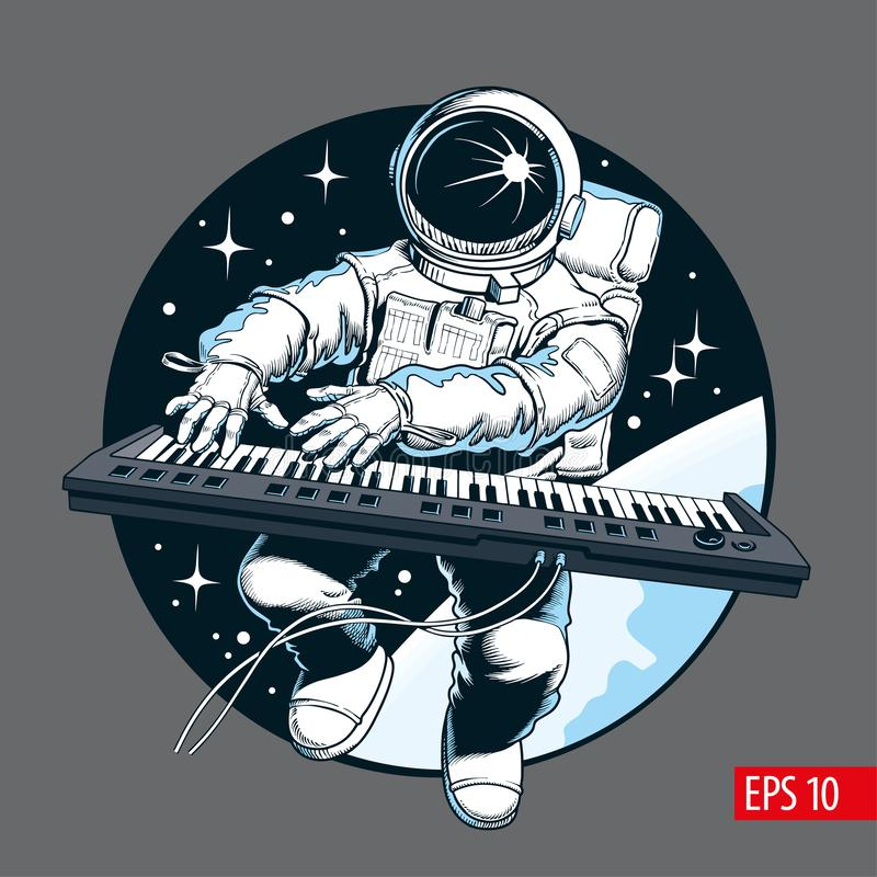 Astronaut playing piano synthesizer in space. Space tourist. Vector illustration royalty free illustration