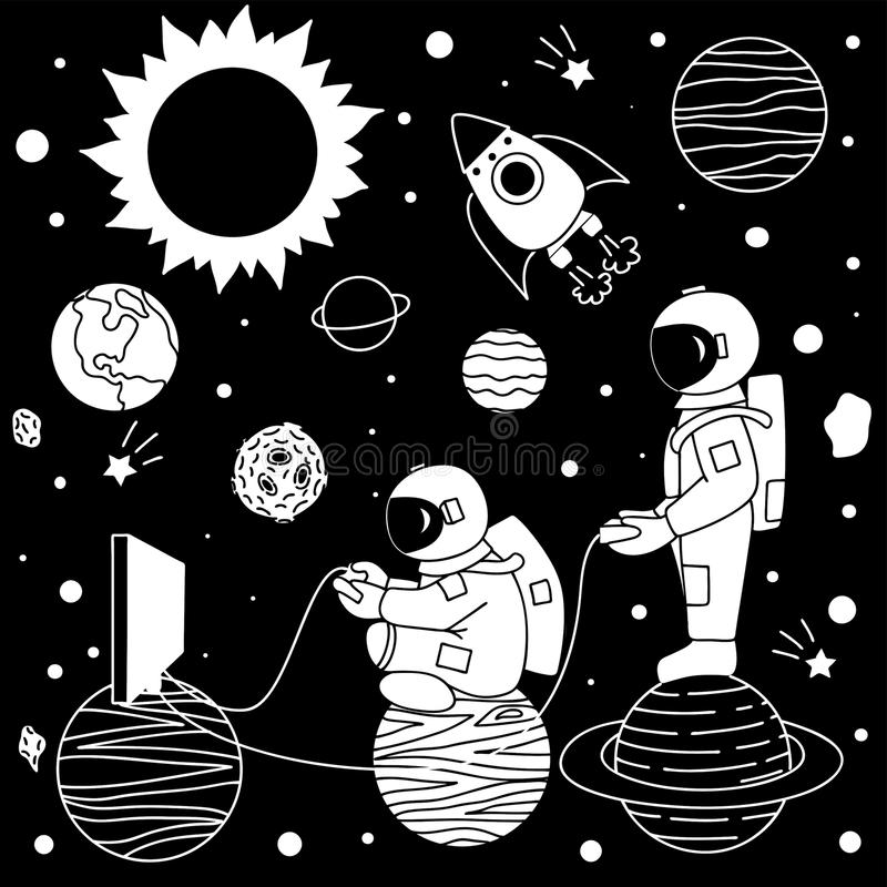 Astronaut playing video games royalty free illustration