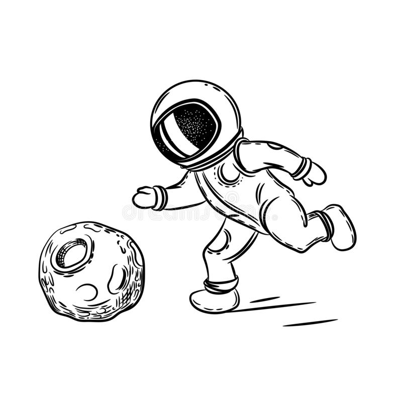 Astronaut plays football. Vector illustration on the theme of astronomy. Coloring page. Astronaut plays football. Vector illustration on the theme of astronomy vector illustration