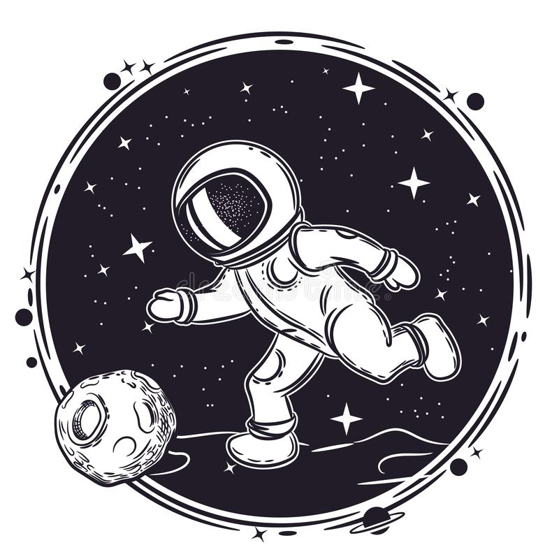 Astronaut plays football. Vector illustration on the theme of astronomy. Outer space. Astronaut plays football. Vector illustration on the theme of astronomy stock illustration