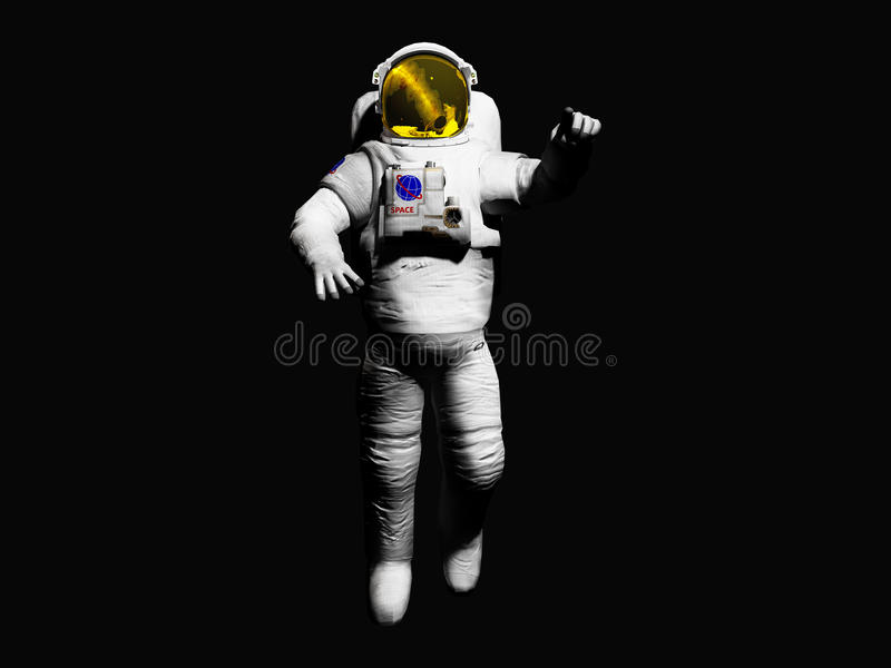 Astronaut posing on black background 3d render image. Astronaut posing on black background 3d render royalty free illustration