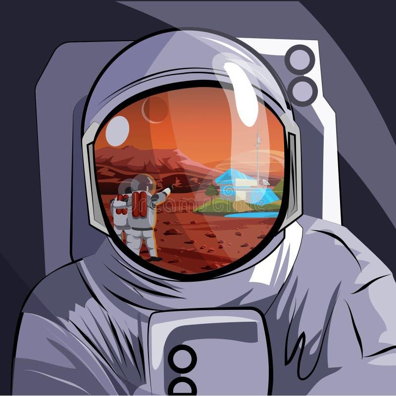 astronaut Reflexion i hjälmen av marsinvånarelandskapet med folk, nybyggare av planeten också vektor för coreldrawillustration vektor illustrationer