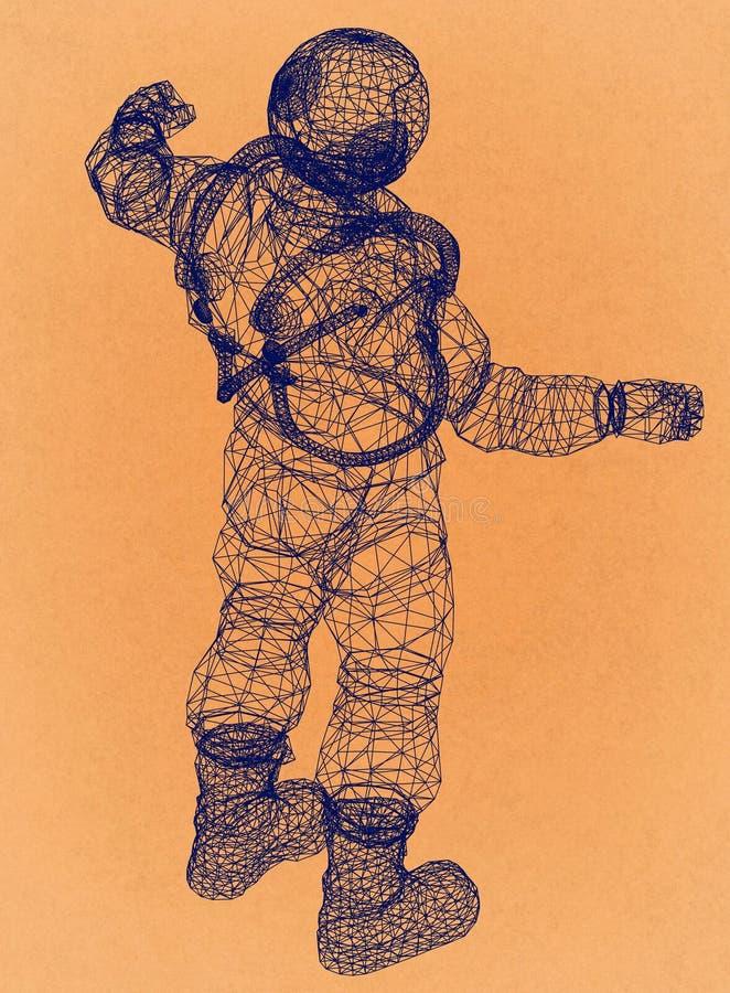 Astronaut - Retro Architect Blueprint royalty-vrije illustratie
