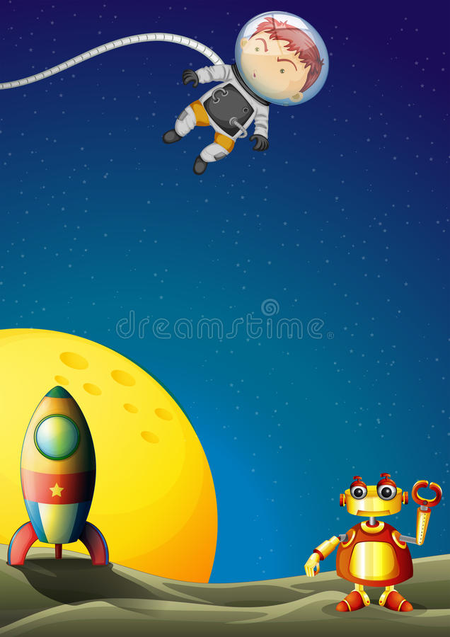 An astronaut and a robot in the outerspace vector illustration