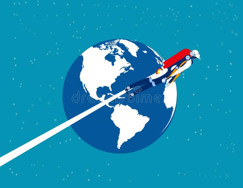 Astronaut robot over the planet earth. Concept business technology vector illustration. Flat cartoon character style design royalty free illustration