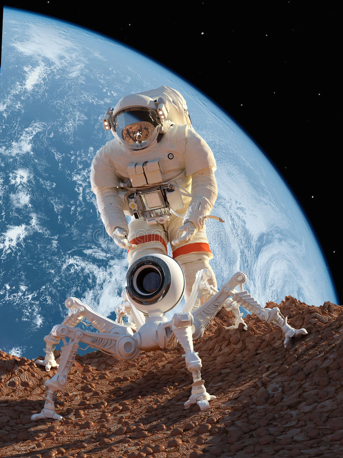 Astronaut and robot vector illustration