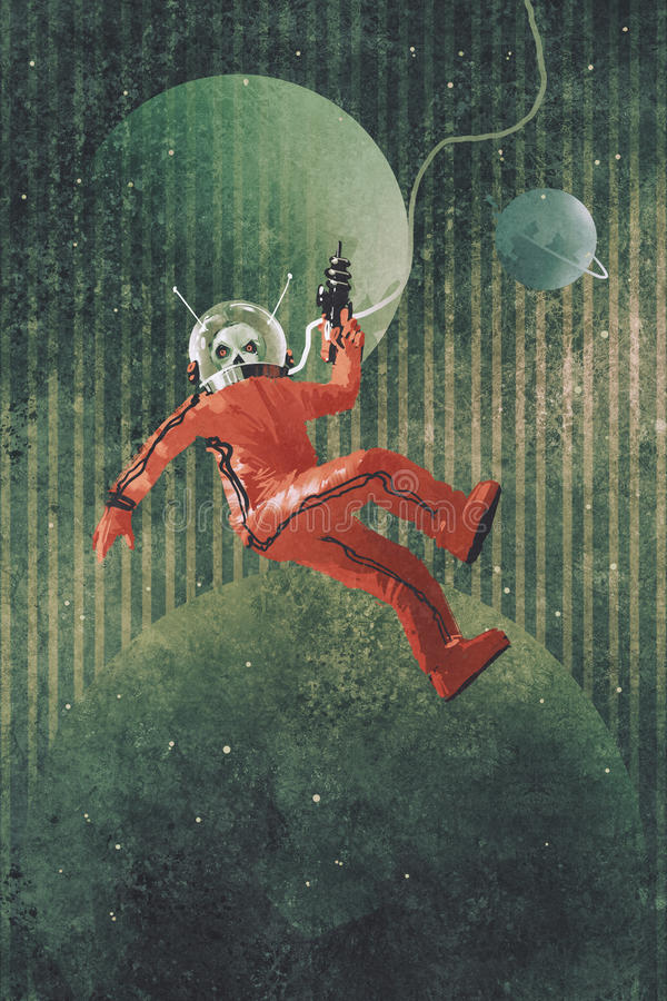 Astronaut in rood kostuum stock illustratie
