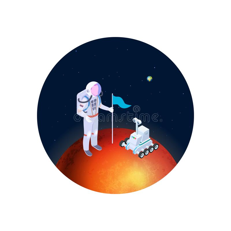 Astronaut and rover on mars vector illustration. Isometric astronaut in a spacesuit with a flag on red planet vector illustration
