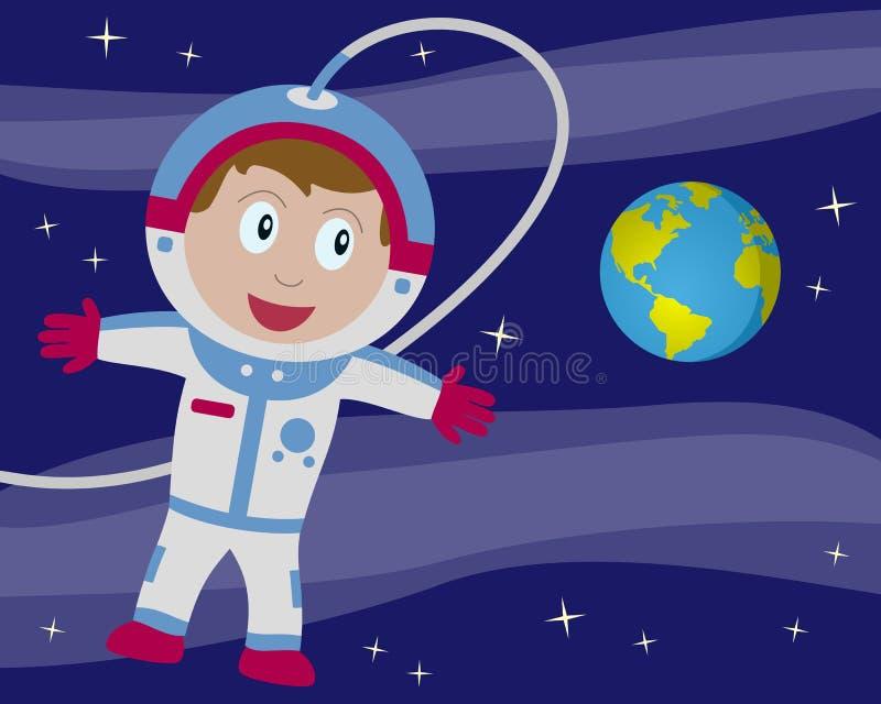 Astronaut in Ruimte met Aarde vector illustratie