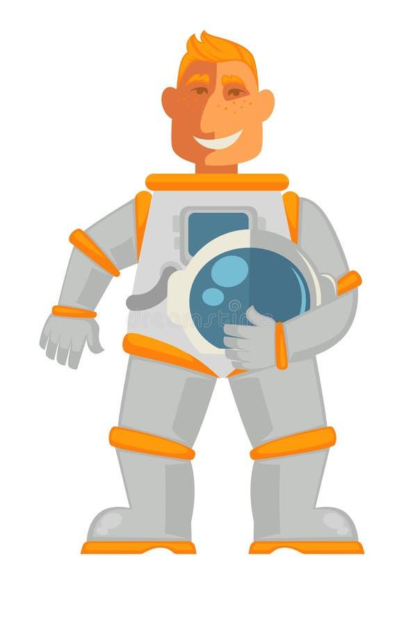 Astronaut in ruimtepak met helmmasker dat op wit wordt geïsoleerd royalty-vrije illustratie