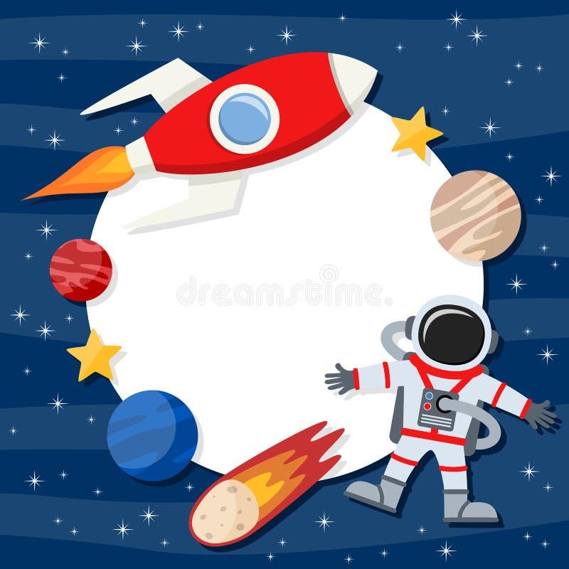 Astronaut & Ruimterocket photo frame stock illustratie