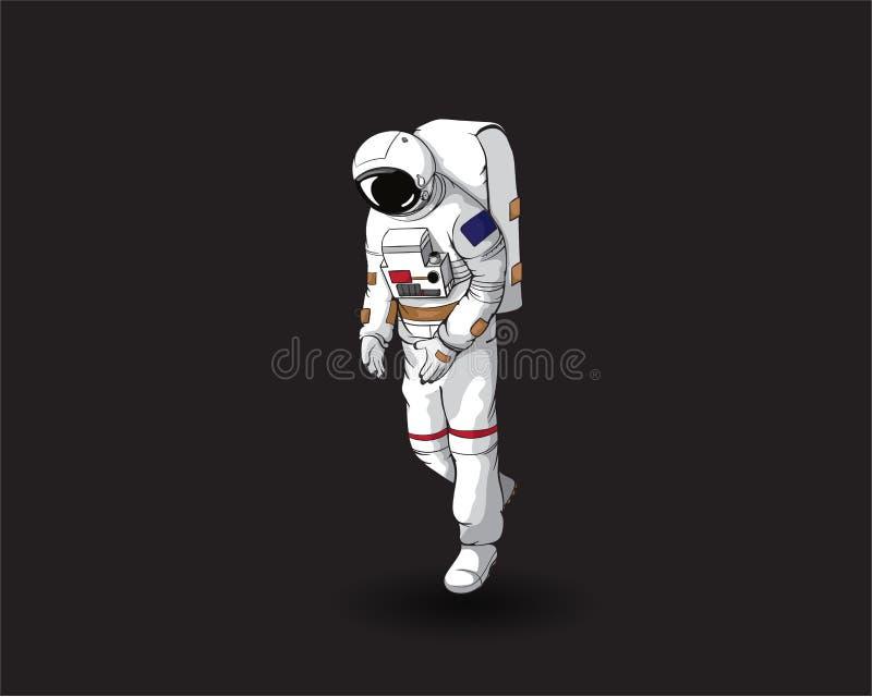 Astronaut, Ruimtevaarder die in Ruimte drijft - Vector stock illustratie