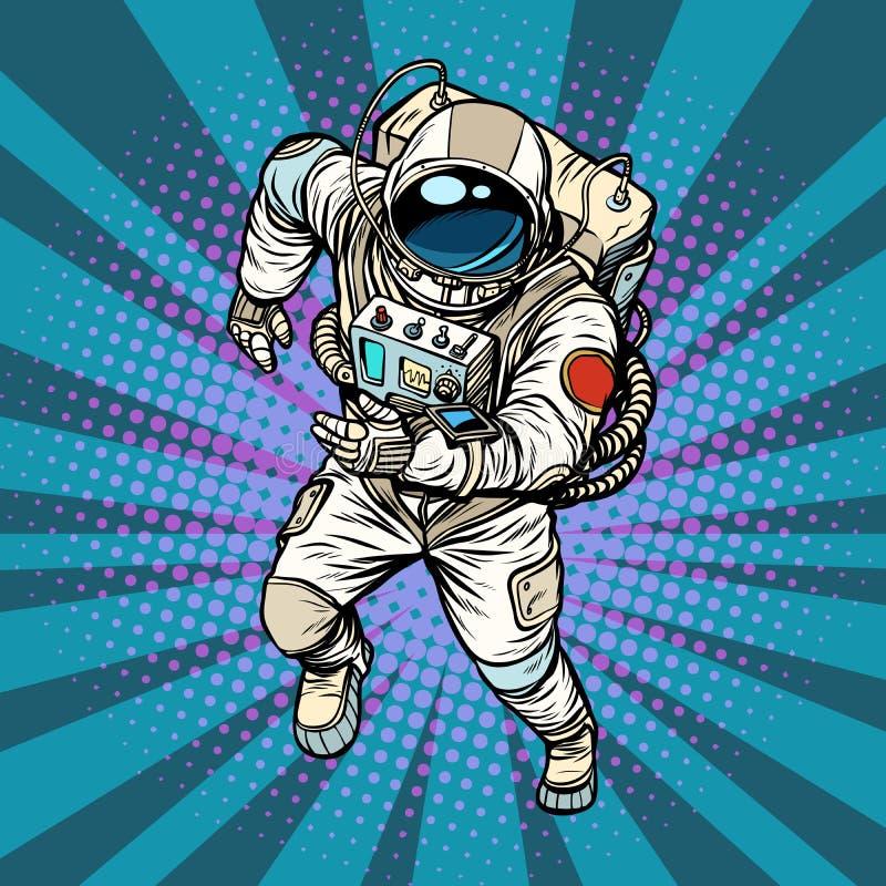 Astronaut runs, the hero of space. Pop art retro vector illustration comic cartoon vintage kitsch drawing vector illustration