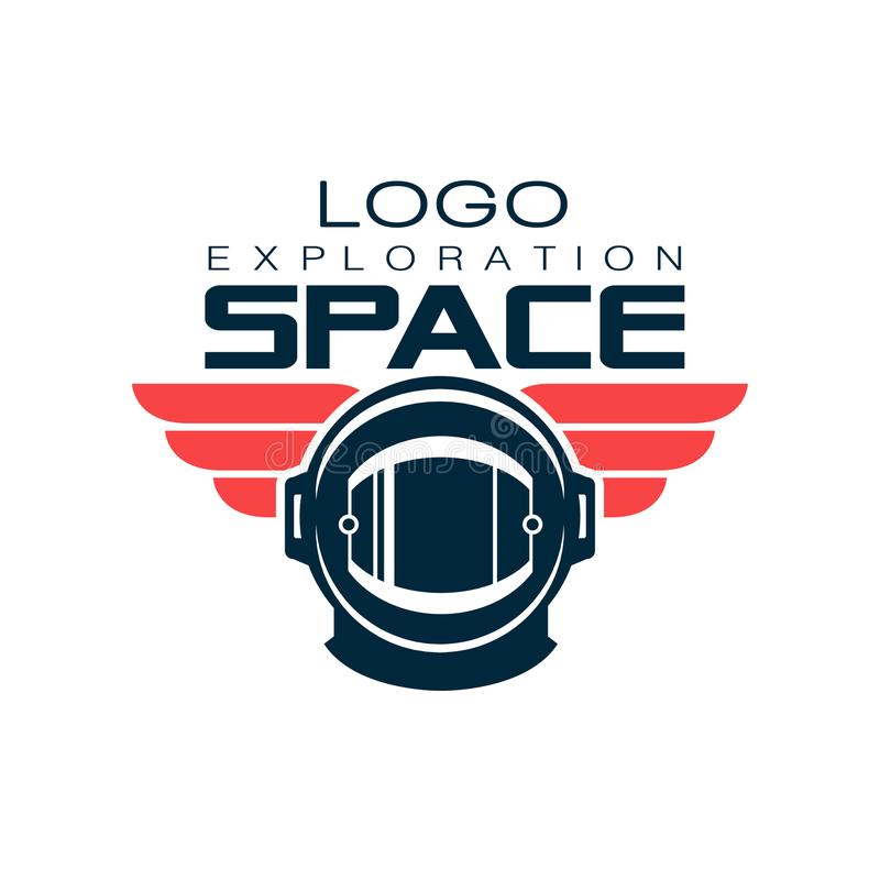 Astronaut`s protective helmet logo. Space exploration. Cosmic journey. Creative label in flat style. Vector design for t. Astronaut`s protective helmet logo stock illustration