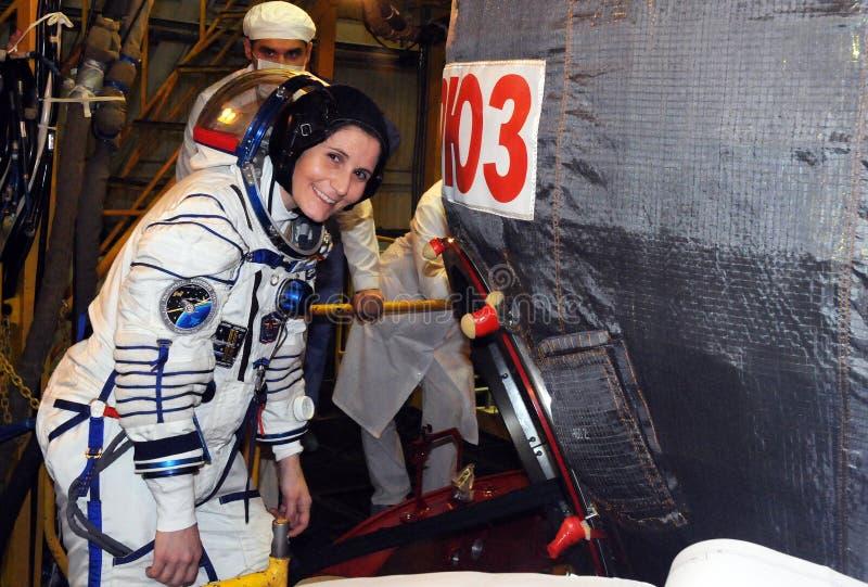 Astronaut Samantha Cristoforetti During Dress Rehearsal Geschikte Chec royalty-vrije stock foto's