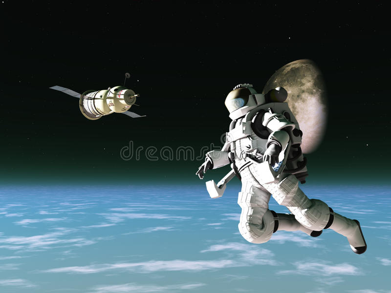 Download Astronaut and satellite stock illustration. Image of spacesuit - 19382245