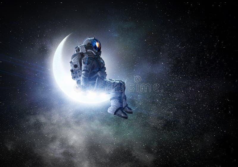Astronaut sit on crescent moon. Mixed media. Spaceman sitting on moon against dark starry sky. Mixed media vector illustration