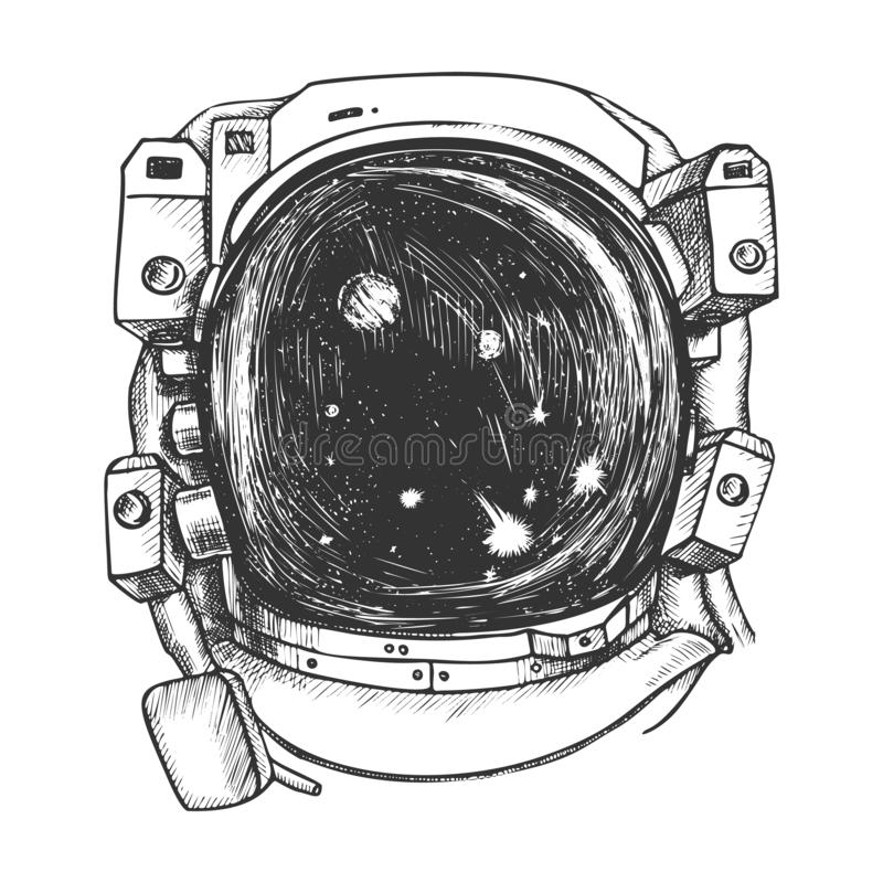 Astronaut Space Exposure Suit Monochrome Vector. Special Cosmic Suit For Exploring Galaxy And Planet. Spaceman Equipment For Discovery Designed In Retro Style stock illustration