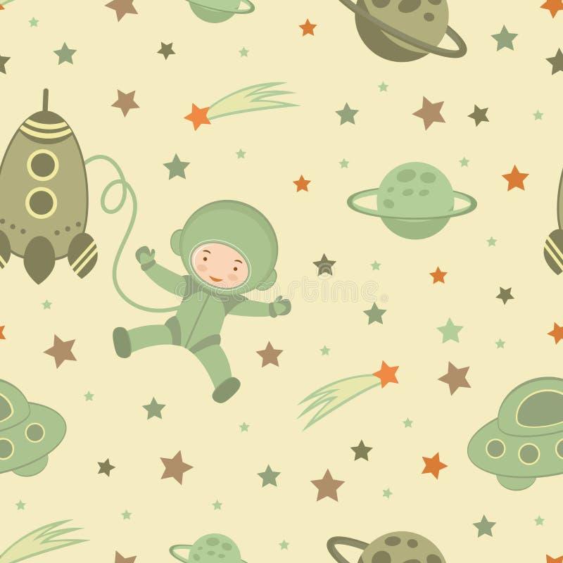 Astronaut in space pattern stock illustration
