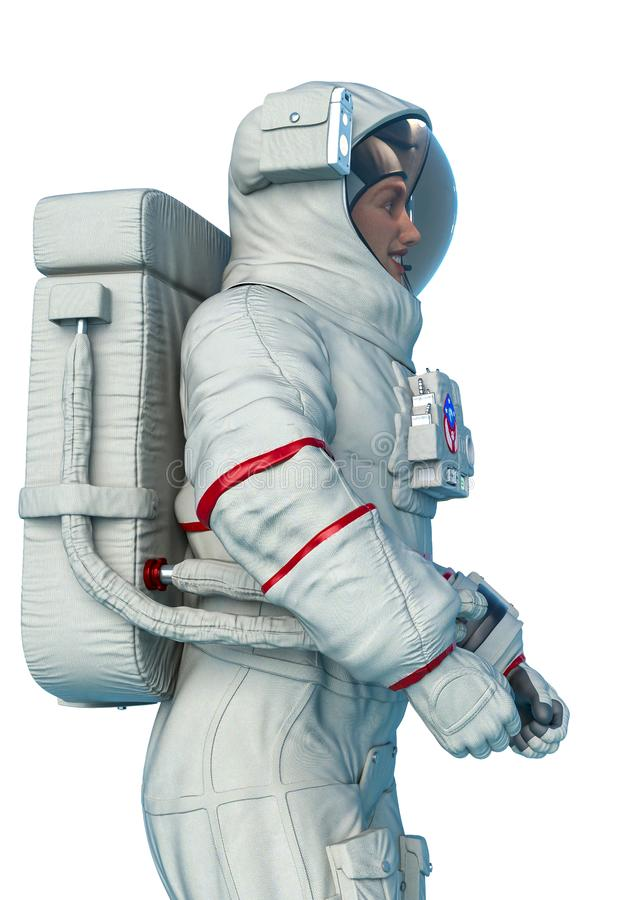 Astronaut space side view close up in a white background royalty free illustration
