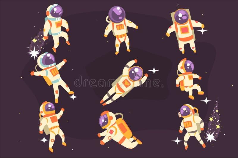 Astronaut In Space Suit die in Open plek in Verschillende Positiesreeks drijven Illustraties, stock illustratie