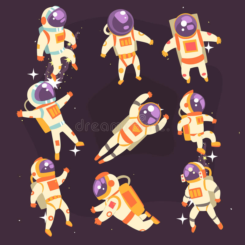 Astronaut In Space Suit Floating In Open Space In Different Positions Set Of Illustrations, vector illustration