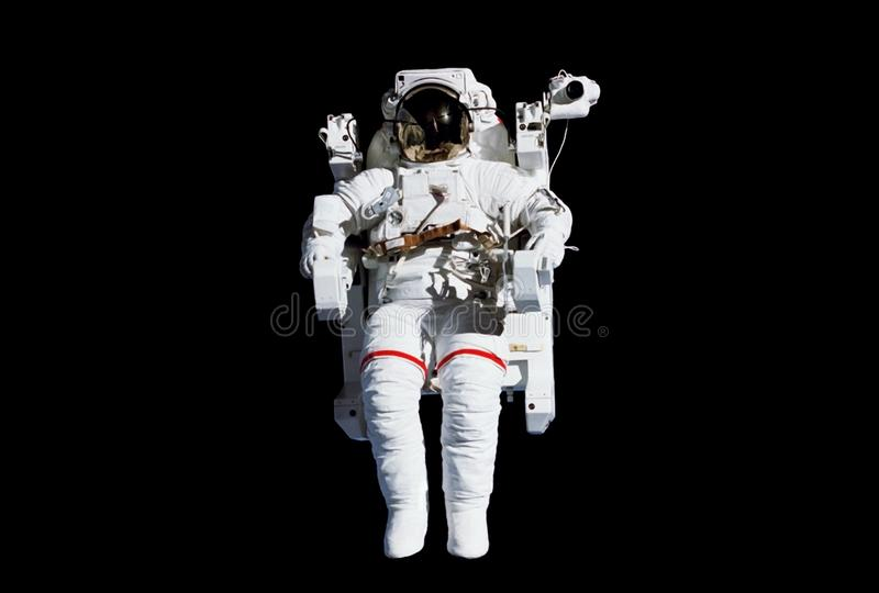 The astronaut in a space suit, in an outer space, without insurance, isolated. Elements of this image were furnished by NASA. The astronaut in a space suit, in royalty free stock photos