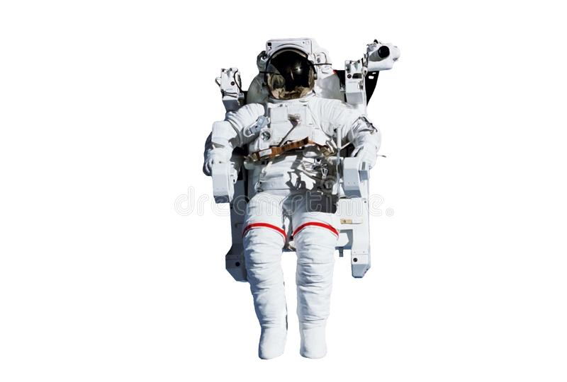 The astronaut in a space suit, in an outer space, without insurance, isolated. Elements of this image were furnished by NASA. The astronaut in a space suit, in royalty free stock photography