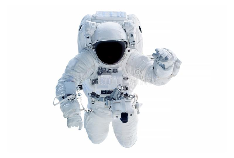 The astronaut in a space suit, waves a hand, isolated on a white background. Elements of this image were furnished by NASA. For any purpose royalty free stock image