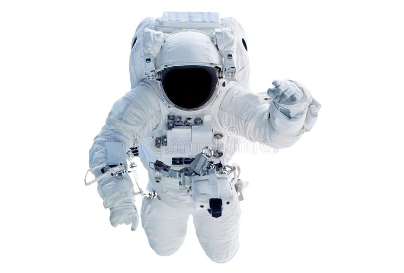 The astronaut in a space suit, waves a hand, isolated on a white background. Elements of this image were furnished by NASA. For any purpose royalty free stock images