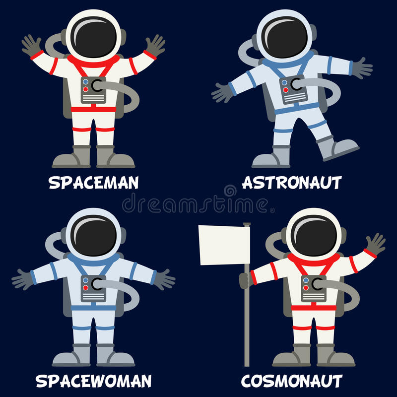 Astronaut or Spaceman Characters Set. Collection of four astronauts or spacemen, on dark blue background. Part three of three. Eps file available royalty free illustration