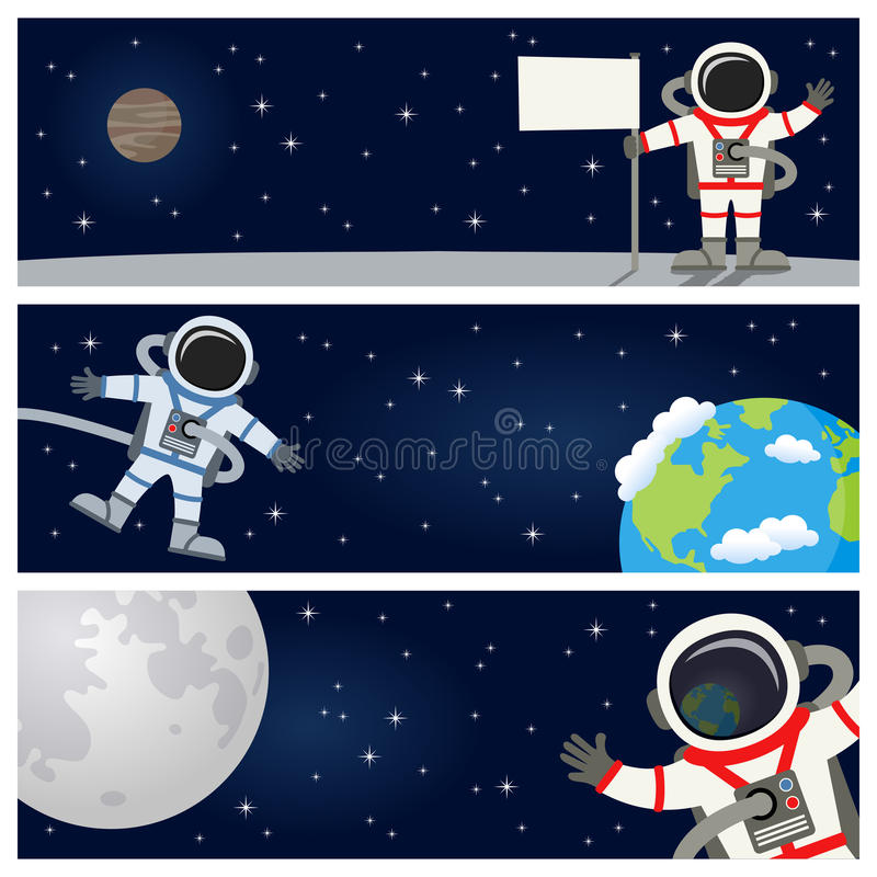 Astronaut Spaceman Horizontal Banners vektor illustrationer